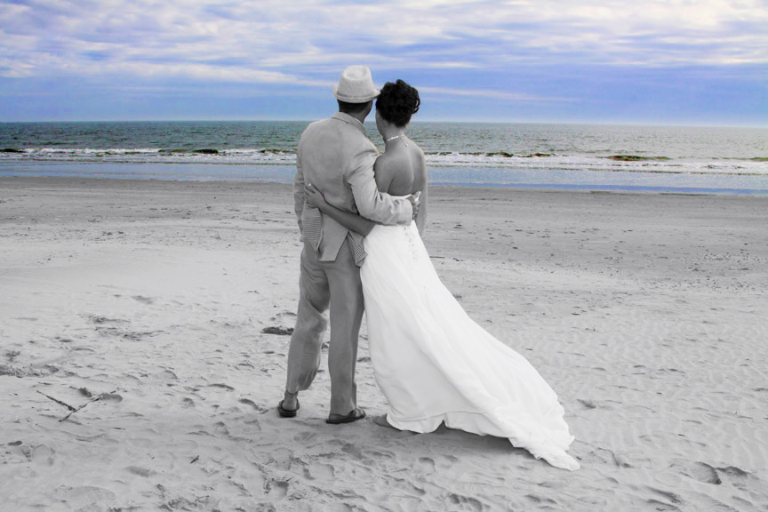 bride and groom on myrtle beach sc