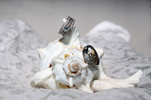 wedding rings on sea shell